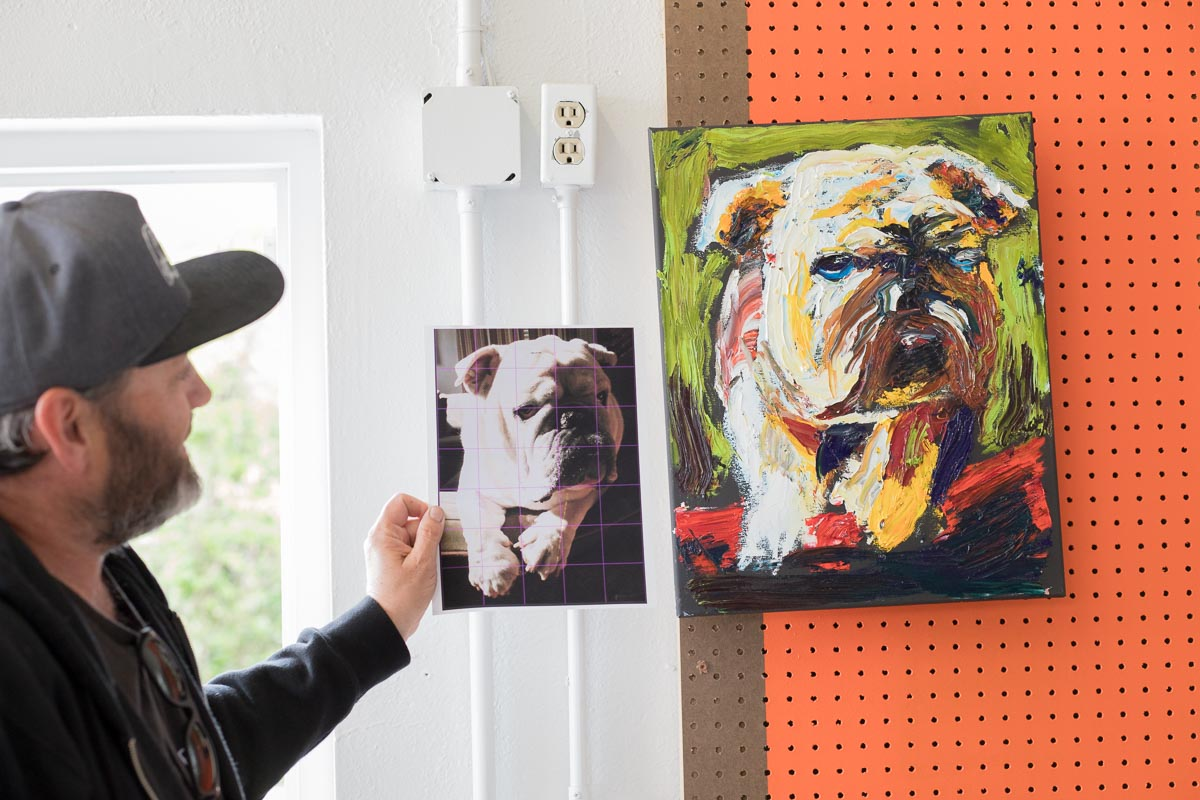 Painter Patrick Kane McGregor shows his inspiration + work in his shared studio space, Denver, Colorado