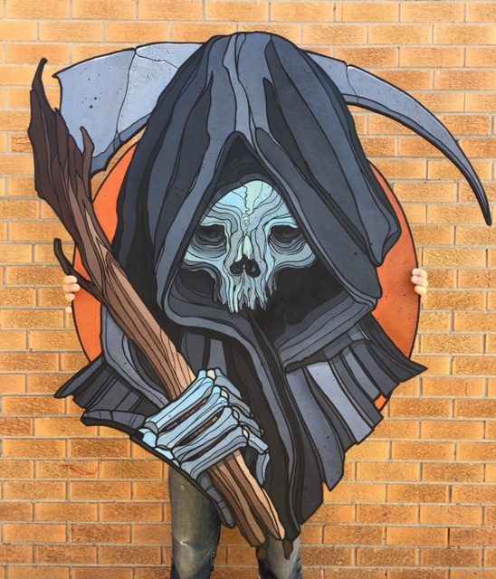 Reaper wood cutout. —Scott Santee