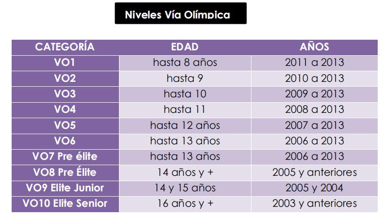 Nivel vía olímpica en gimnasia artística