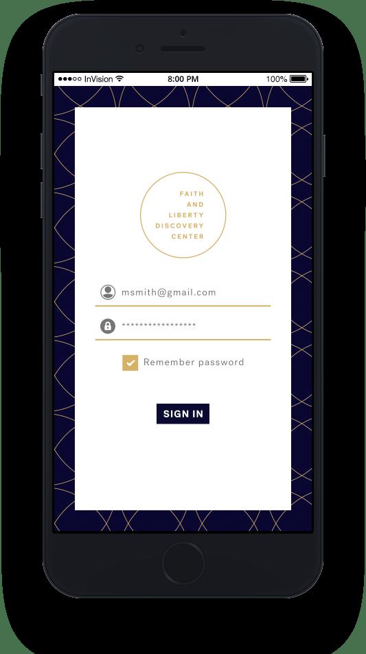 mockup on iphone of fldc portal mobile login