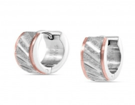Mens Plated Sandblast Stainless Steel Huggie Hoop Earrings