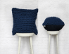 Chunky Knit Cushion Pillow in Royal Blue - Hand Knitted Garter Cushion Navy
