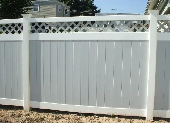 TWO-TONE VINYL fencing with white and grey and a lattice top