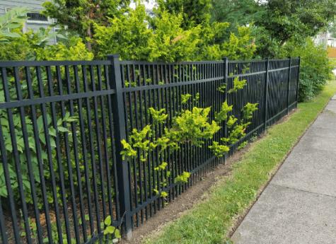 Black aluminum fence contemporary style