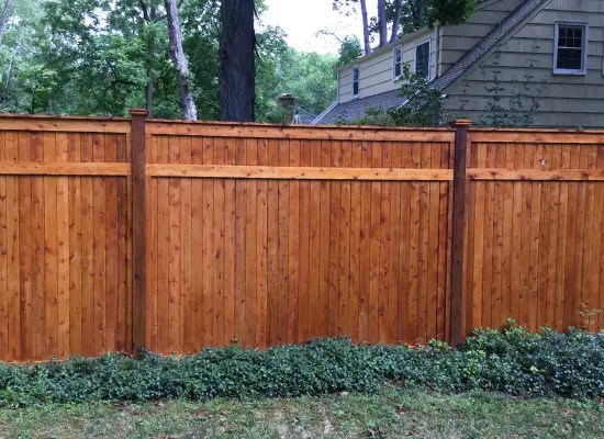 Tall wood privacy fence with dark stain