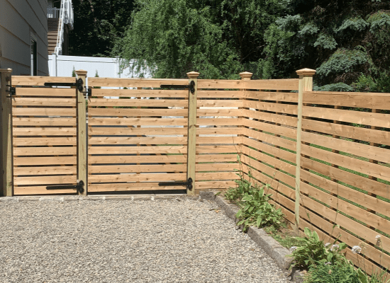 Horizontal wood fence with gate