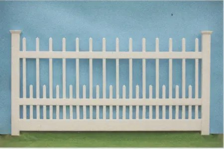 Nantucket style picket fence with hi-low styling where every other picket is high and then low