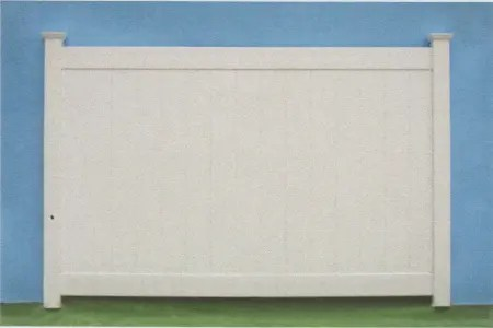 White suburban privacy fence style with solid tongue and grove panels