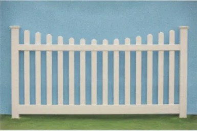 Bar harbor scalloped top picket traditional pvc picket fence style available from Artistic Fence Comapny