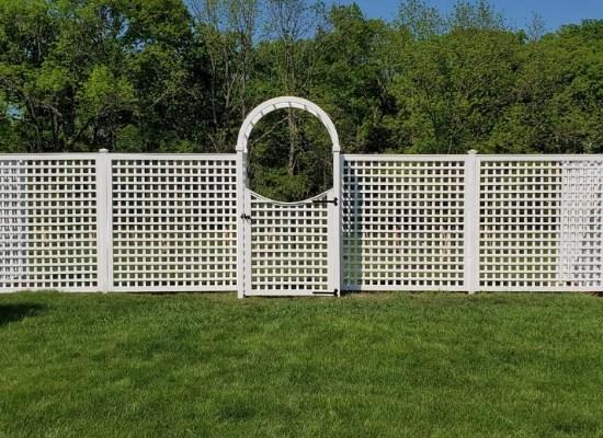 Custom Vineyard Lattice Trellis with gate and rounded arbor - vinyl