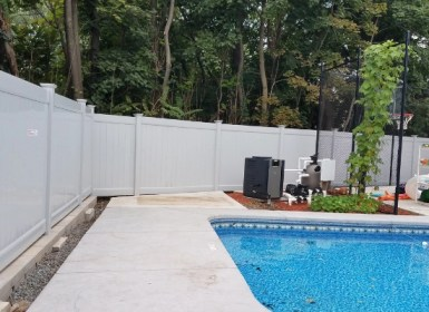 Residential vinyl swimming pool fencing barrier that is up to NJ pool code
