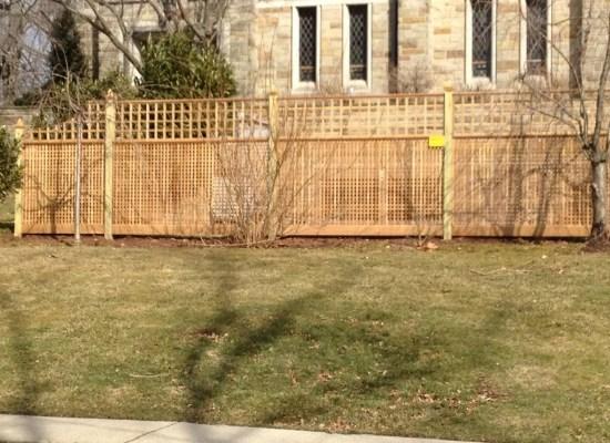 Wood lattice fence