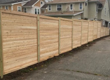 Horizontal Wood Fence Stepped