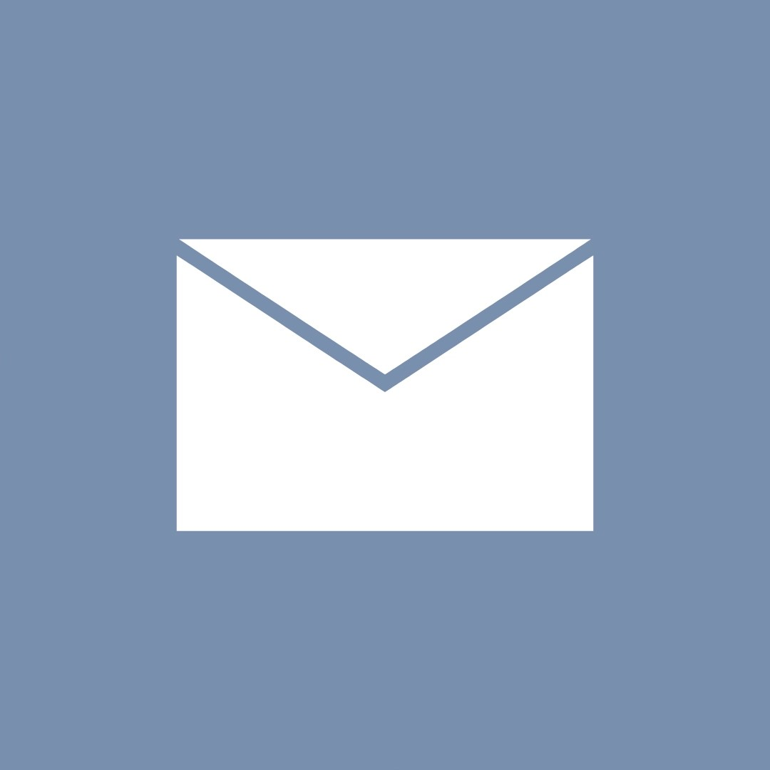 White envelope with blue/grey background representing email