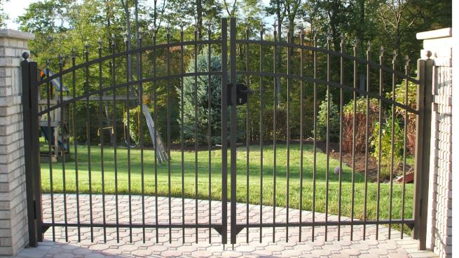 Black, aluminum, archedwdouble driveway gate