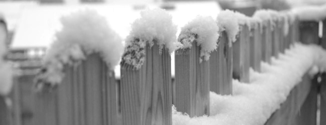 snow on a wood picket fence black and white photo