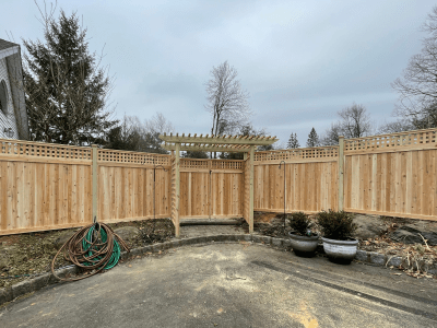 Wood Privacy fence with square lattice topper Artistic Fence style #221