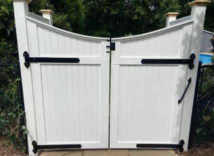 Stained White Double Scalloped Garden Gate With Black Hardware