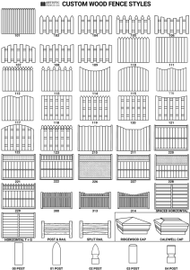 Artistic Fence Company custom wood fence style sheet showing all the different wood fence styles available