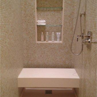 nyc shower penny tile limestone