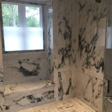 Paneled shower window bench niche, floor, walls and ceiling in paonazzo white marble