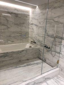Powder room wet room in Vermont danby marble
