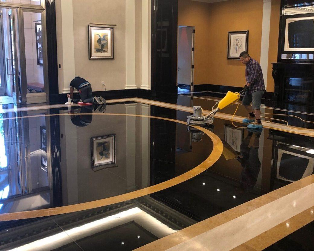 Belgium black marble floor restoration