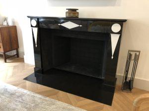 Custom Belgium black and white thassos marble fireplace mantel