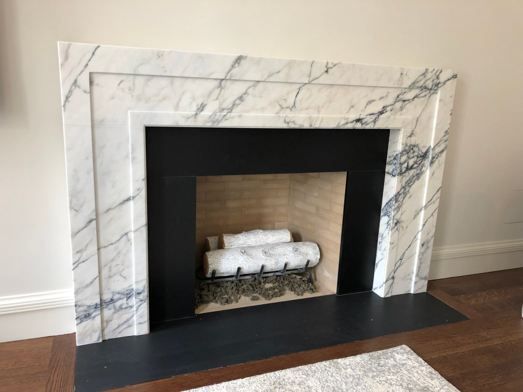 Custom Panonazzo white marble fireplace mantel