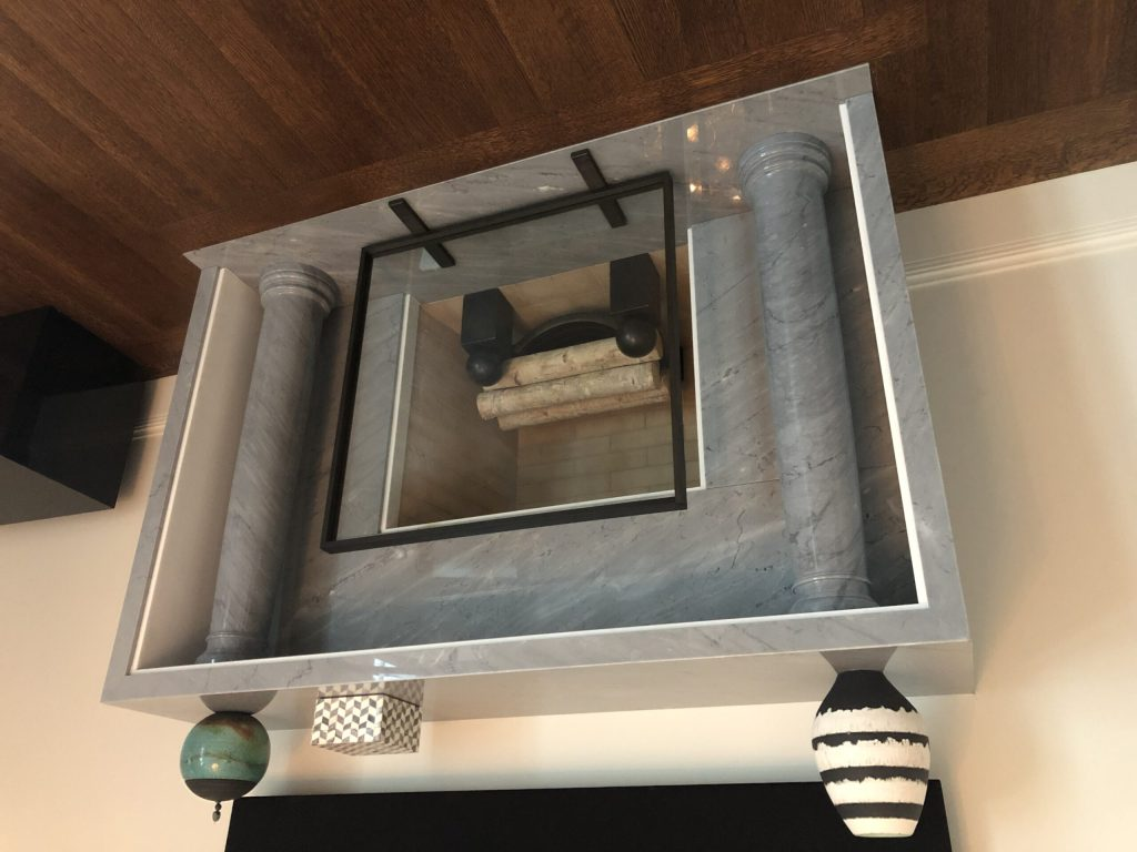 Custom gray bardiglio marble fireplace mantel