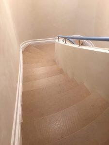 Hauteville limestone carved block staircase