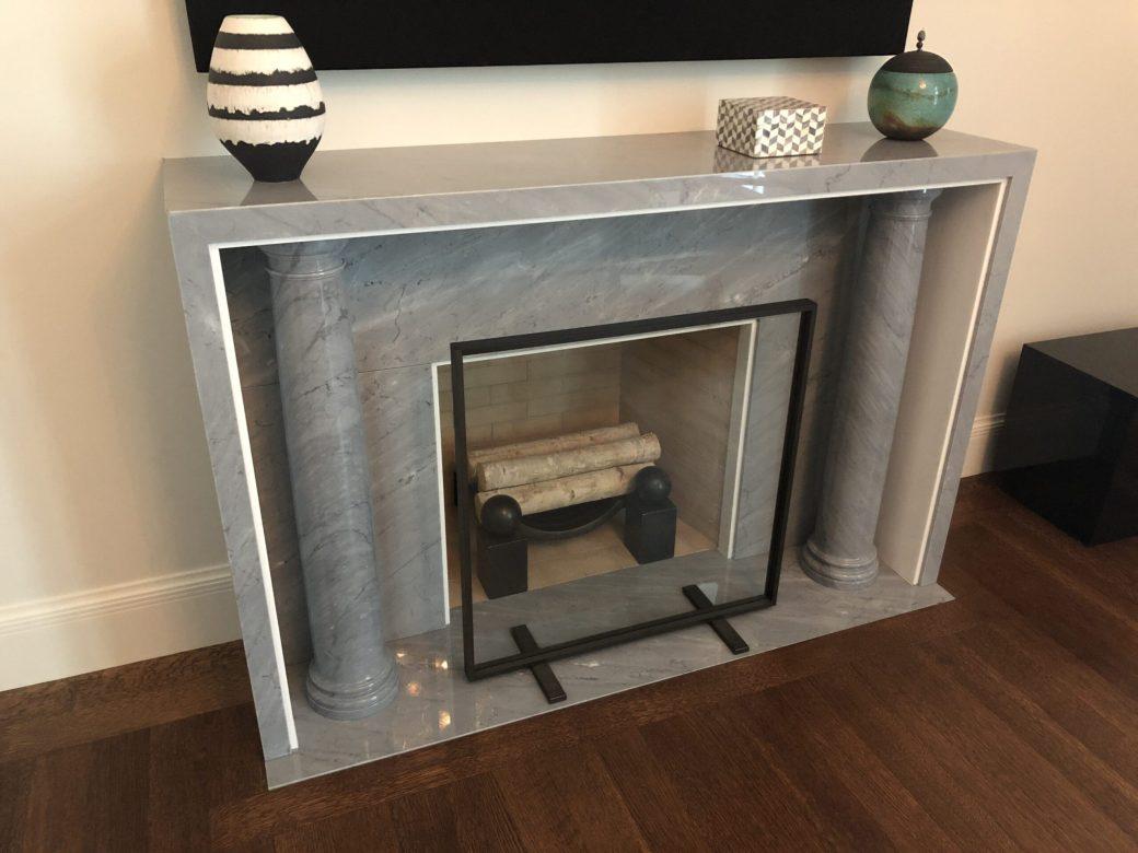 Custom gray bardiglio marble fireplace mantel