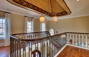 Wrought Iron Railings And Wooden Baluster Staircases Southern | Wrought Iron Baluster Designs | Rot Iron Staircase | Rod Iron | Metal Rail | Stair Railing | Replacement