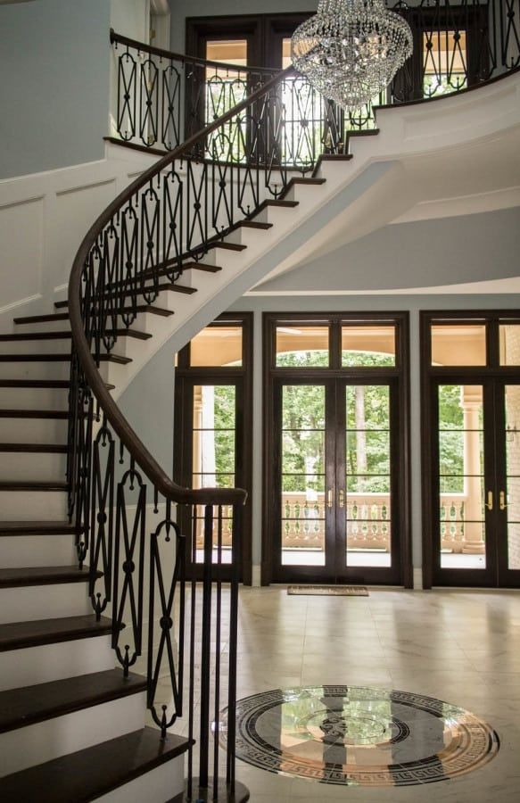 Curved Stairs Southern Staircase Artistic Stairs   Dual Staircase House Plans   Colonial   Design   Upstairs Master Suite House   Luxury Library 5 Bed House   Medium Size