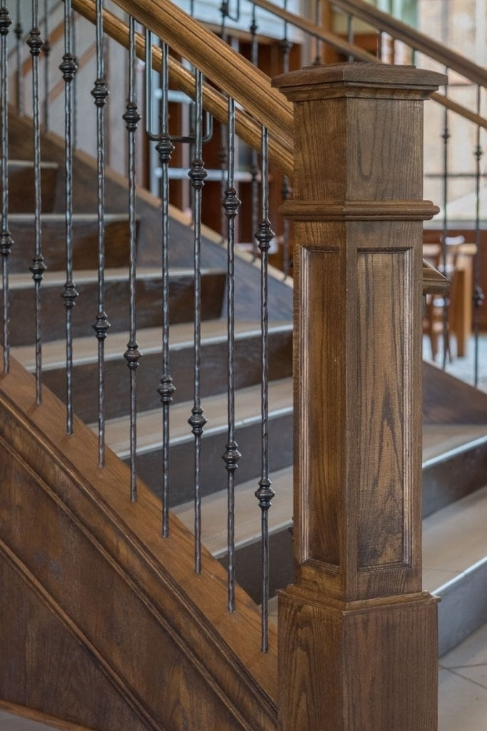 Metal Baluster System Southern Staircase Artistic Stairs | Wood Railing With Metal Spindles | Metal Stair | Decorative | Different Kind Wood | Wood Handrail | Modern