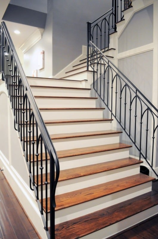Wrought Iron Stair Railing Southern Staircase Artistic Stairs | Wrought Iron And Wood Stair Railing | Decorative | Iron Rail | Stairway | Wood Cap | Hand