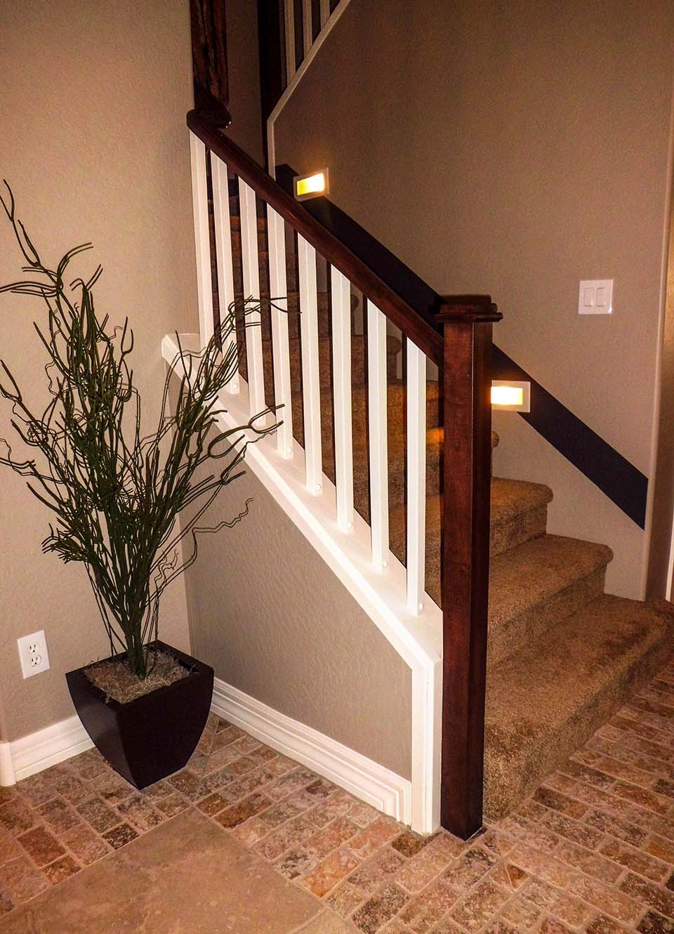 Mission Style Staircase Southern Staircase Artistic Stairs | Wood And Metal Stair Railing | Outdoor | Modern | Newel Post | Basement | Contemporary