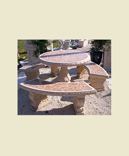 cast stone tables and benches