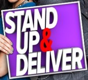stand up and deliver comedy