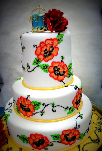 3 Tiers Wedding Cake Brush Embroidery Design