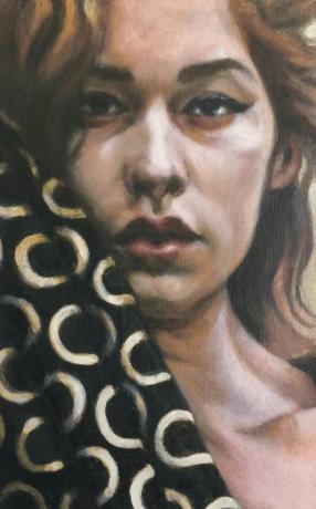 'Kat' Oil on canvas mounted on panel.