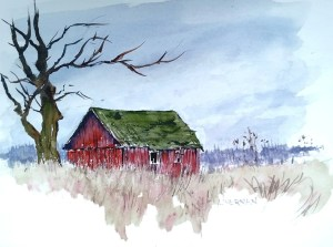 A watercolor painting of a small red barn