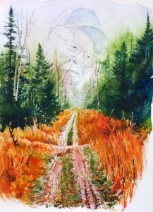 A watercolor called Walking the Grade