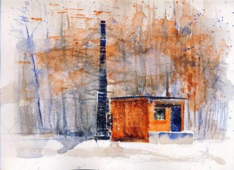 watercolor of an old incinerator