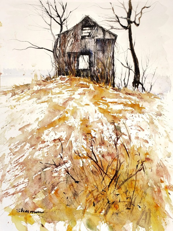 a barn painted with muted colors called December Rain