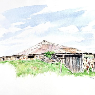 a painting of a circular stone barn