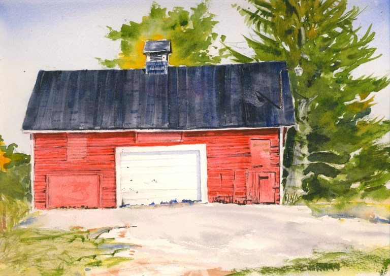 A watercolor of the Felt Mansion Barn