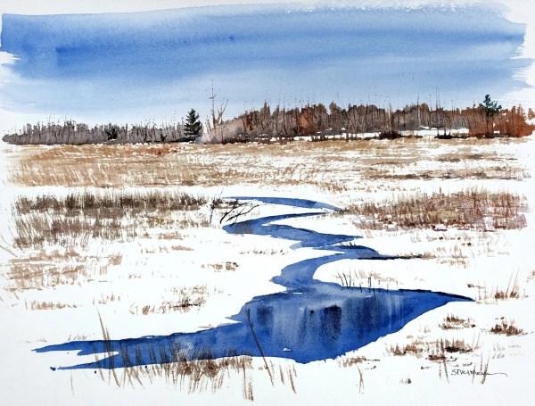 A watercolor titled Still Waters, Walton Road