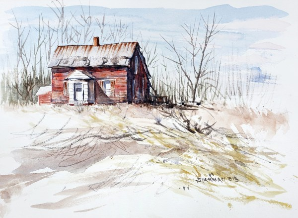 Winter Distressed Red House