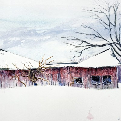"""A painting of a Barn entitled """"Imminent Collapse of an M-20 Centennial Building"""